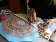 lacemaking with bobbins