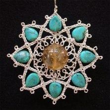 Lotus with Citrine and Turquoise