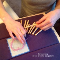 Barbara working on her favourite heart pattern in January 2016