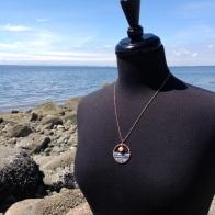 Blue Ocean Pink Mist Amulet Pendant