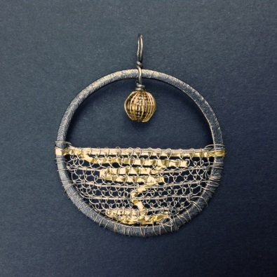 Grey Ocean Gold Reflection Amulet Pendant