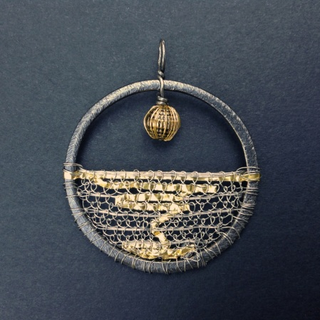 Grey Ocean Gold Reflection Amulet Pendant