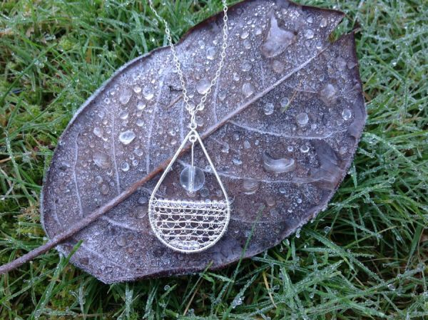 needle lace in silver pendant 2
